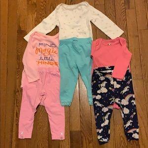 Girls 12 month matching set pajamas bundle of 3